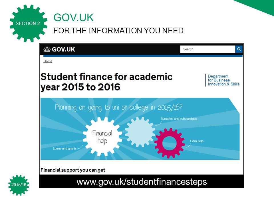 2015/16 SECTION 2 www.gov.uk/studentfinancesteps GOV.UK FOR THE INFORMATION YOU NEED