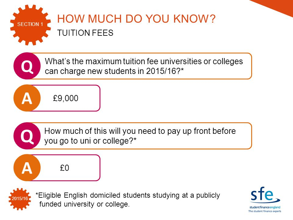 SECTION 1 2015/16 *Eligible English domiciled students studying at a publicly funded university or college.