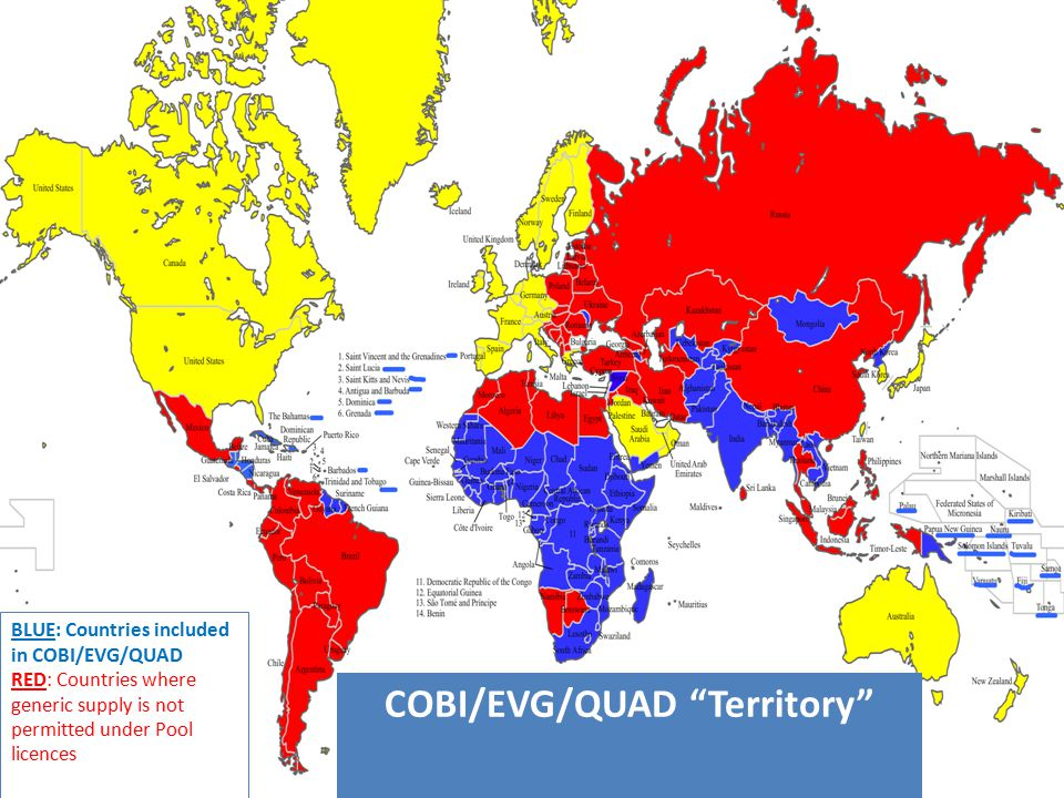 COBI/EVG/QUAD Territory BLUE: Countries included in COBI/EVG/QUAD RED: Countries where generic supply is not permitted under Pool licences