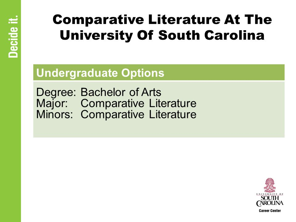 Comparative Literature At The University Of South Carolina Undergraduate Options Degree: Bachelor of Arts Major: Comparative Literature Minors: Compar