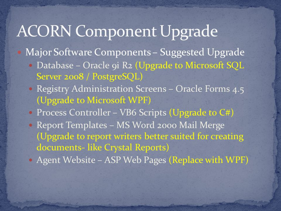 Major Software Components – Suggested Upgrade Database – Oracle 9i R2 (Upgrade to Microsoft SQL Server 2008 / PostgreSQL) Registry Administration Screens – Oracle Forms 4.5 (Upgrade to Microsoft WPF) Process Controller – VB6 Scripts (Upgrade to C#) Report Templates – MS Word 2000 Mail Merge (Upgrade to report writers better suited for creating documents- like Crystal Reports) Agent Website – ASP Web Pages (Replace with WPF)