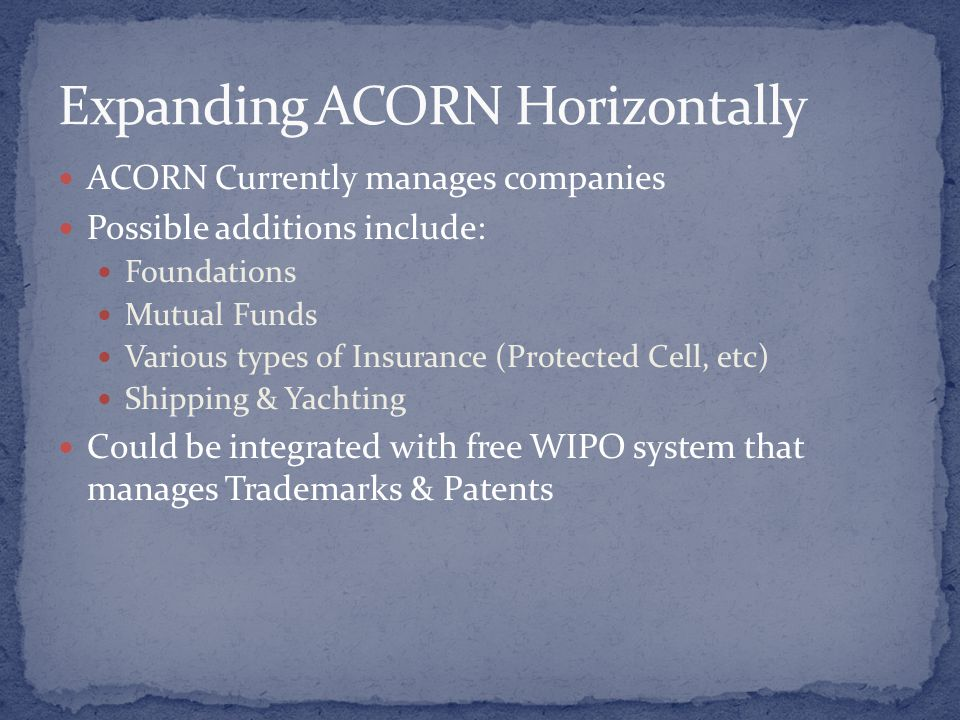 ACORN Currently manages companies Possible additions include: Foundations Mutual Funds Various types of Insurance (Protected Cell, etc) Shipping & Yachting Could be integrated with free WIPO system that manages Trademarks & Patents