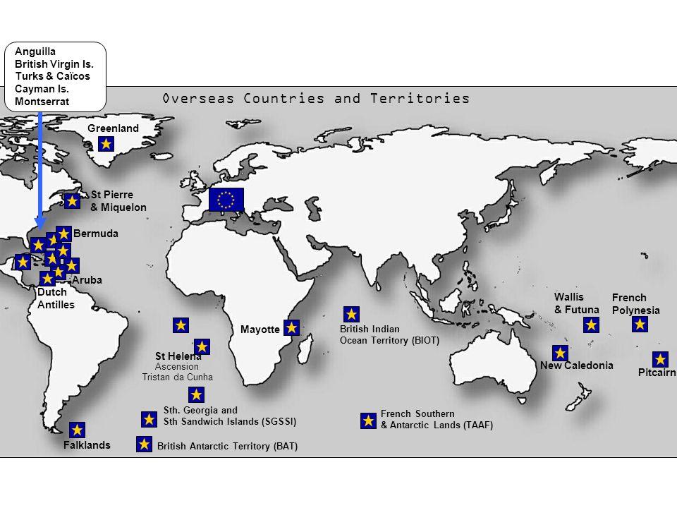 British Antarctic Territory (BAT) British Indian Ocean Territory (BIOT) Falklands Aruba Dutch Antilles Bermuda Sth.