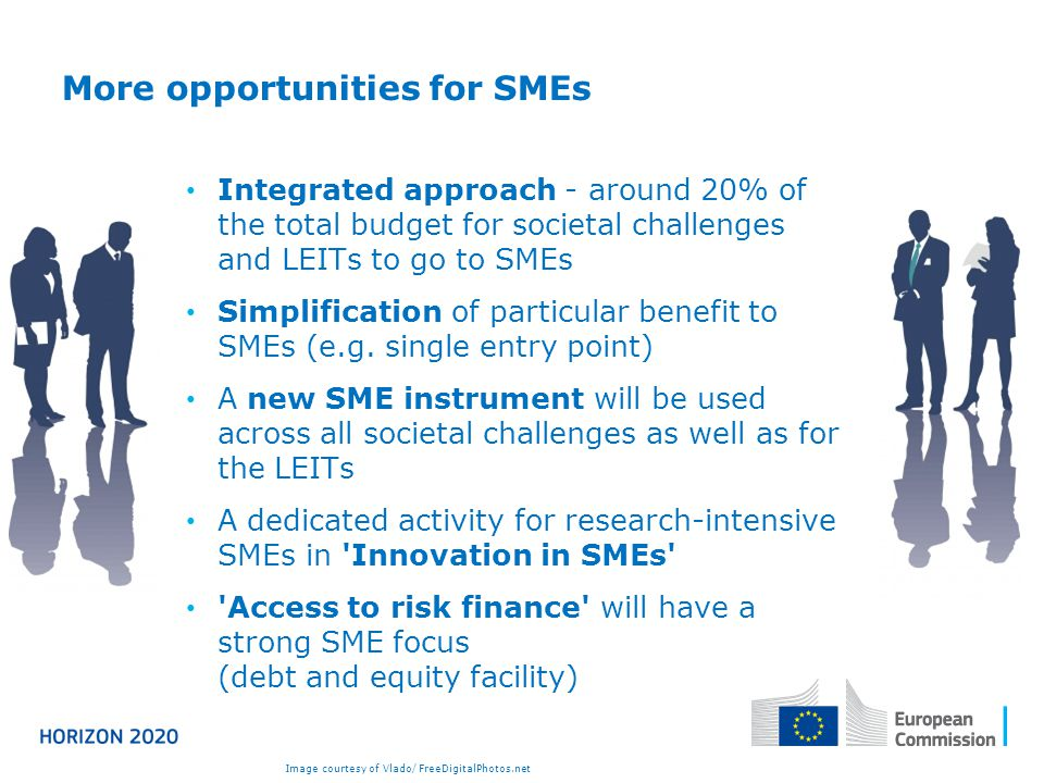 More opportunities for SMEs Integrated approach - around 20% of the total budget for societal challenges and LEITs to go to SMEs Simplification of particular benefit to SMEs (e.g.