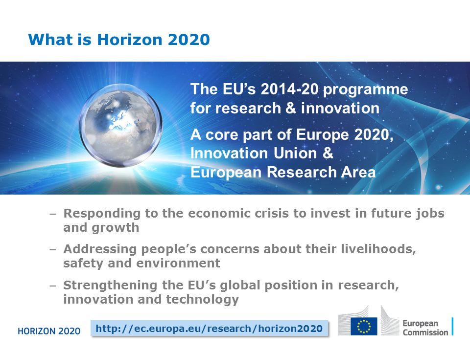 What is Horizon 2020 − Responding to the economic crisis to invest in future jobs and growth − Addressing people's concerns about their livelihoods, safety and environment − Strengthening the EU's global position in research, innovation and technology http://ec.europa.eu/research/horizon2020 The EU's 2014-20 programme for research & innovation A core part of Europe 2020, Innovation Union & European Research Area