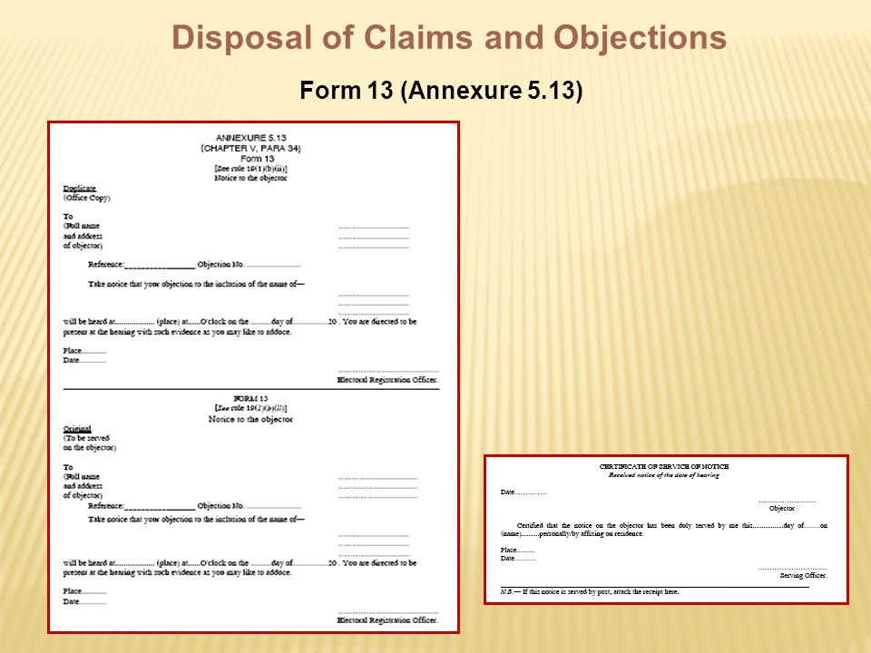 Disposal of Claims and Objections Form 13 (Annexure 5.13)