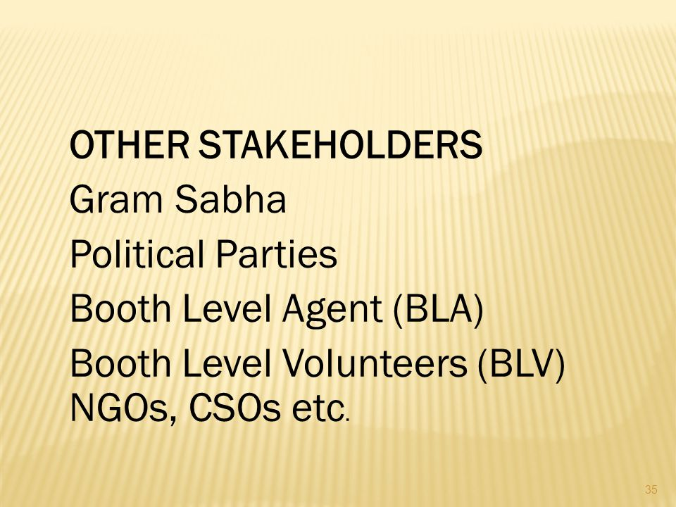 OTHER STAKEHOLDERS Gram Sabha Political Parties Booth Level Agent (BLA) Booth Level Volunteers (BLV) NGOs, CSOs etc.