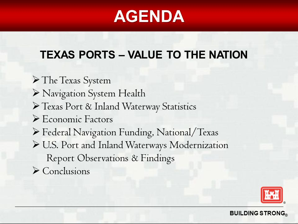 BUILDING STRONG ® UNCLASSIFIEDAGENDA TEXAS PORTS – VALUE TO THE NATION  The Texas System  Navigation System Health  Texas Port & Inland Waterway Statistics  Economic Factors  Federal Navigation Funding, National/Texas  U.S.