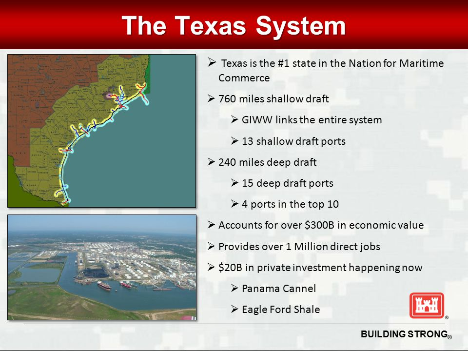BUILDING STRONG ® UNCLASSIFIED The Texas System  Texas is the #1 state in the Nation for Maritime Commerce  760 miles shallow draft  GIWW links the entire system  13 shallow draft ports  240 miles deep draft  15 deep draft ports  4 ports in the top 10  Accounts for over $300B in economic value  Provides over 1 Million direct jobs  $20B in private investment happening now  Panama Cannel  Eagle Ford Shale