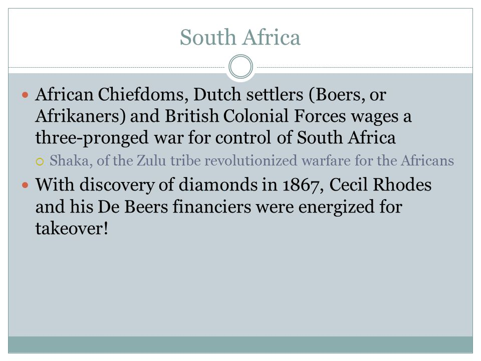 South Africa African Chiefdoms, Dutch settlers (Boers, or Afrikaners) and British Colonial Forces wages a three-pronged war for control of South Afric