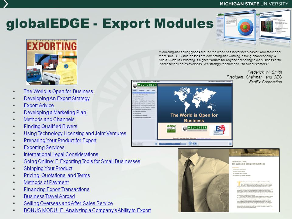 globalEDGE - Export Modules  The World is Open for Business The World is Open for Business  Developing An Export Strategy Developing An Export Strat