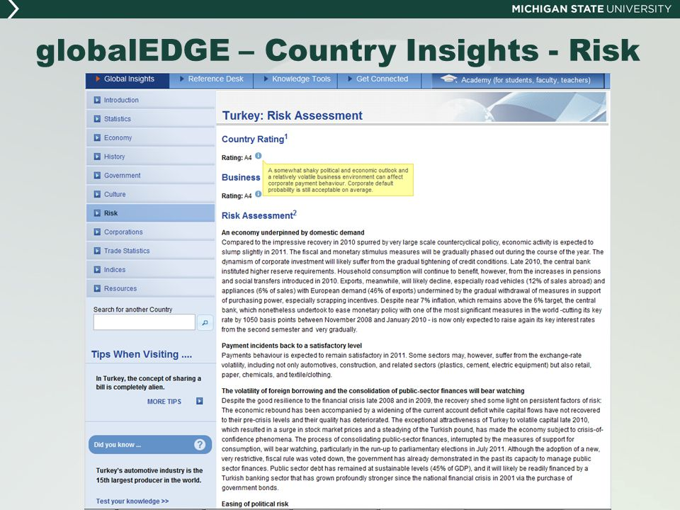 globalEDGE – Country Insights - Risk