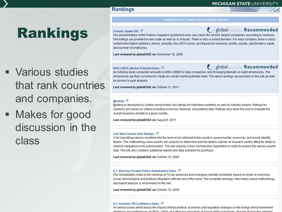 Rankings  Various studies that rank countries and companies.  Makes for good discussion in the class