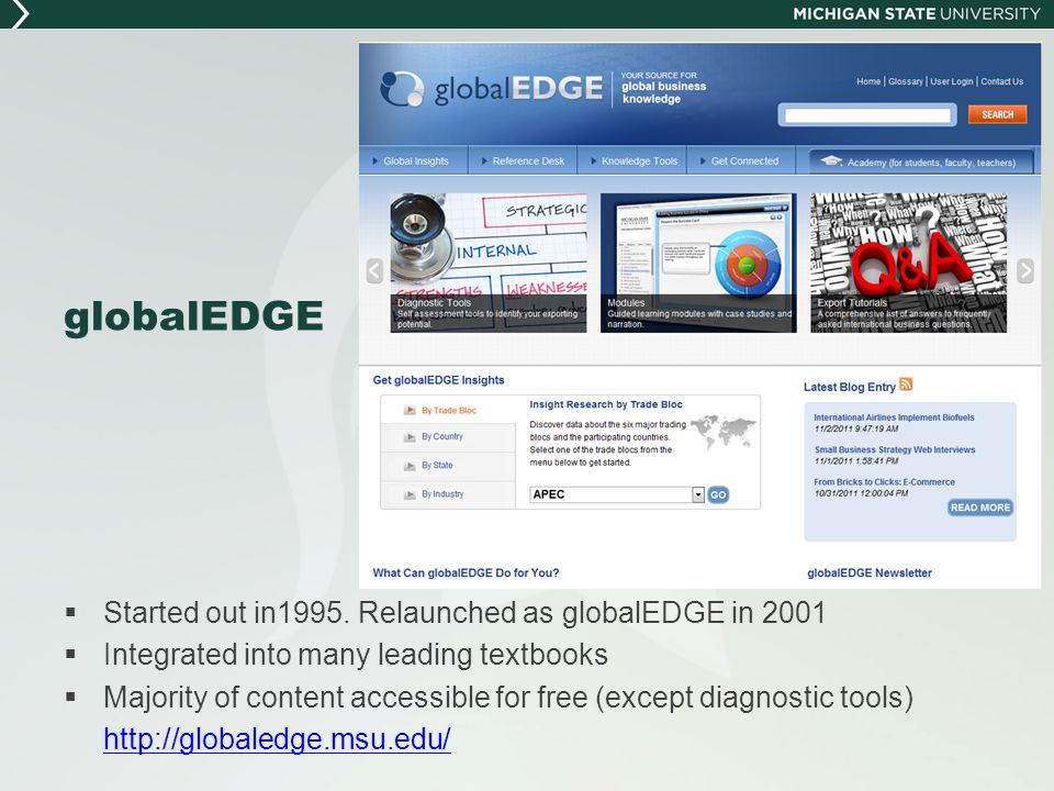 globalEDGE  Started out in1995. Relaunched as globalEDGE in 2001  Integrated into many leading textbooks  Majority of content accessible for free (