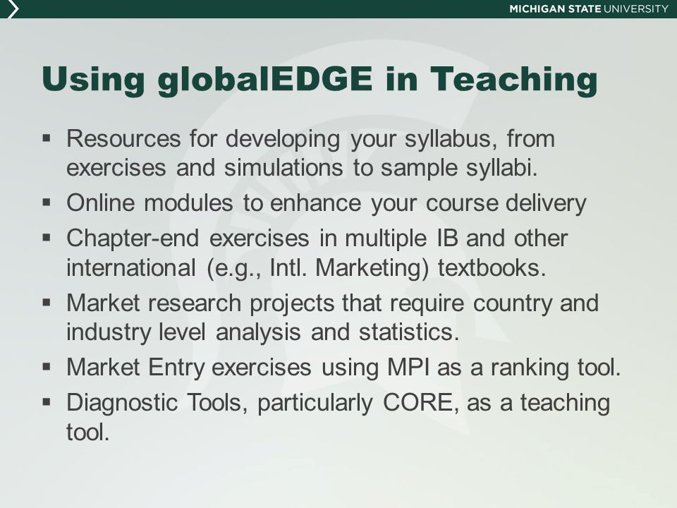 Using globalEDGE in Teaching  Resources for developing your syllabus, from exercises and simulations to sample syllabi.  Online modules to enhance y