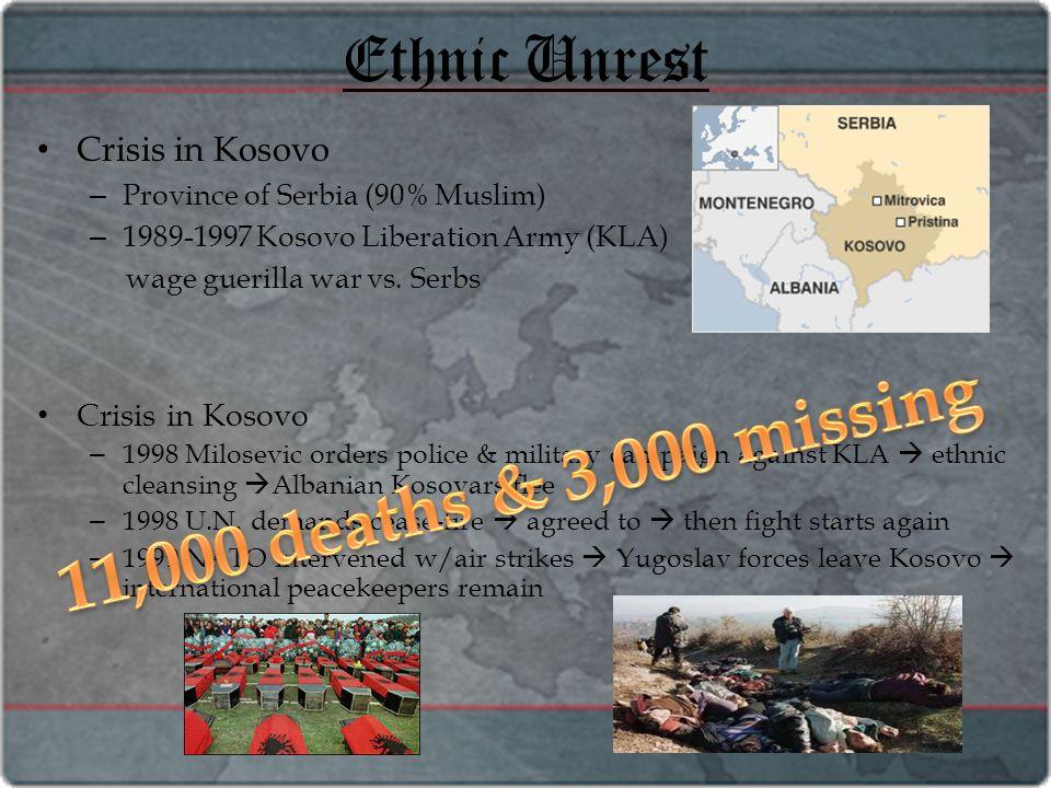 Ethnic Unrest Crisis in Kosovo – Province of Serbia (90% Muslim) – 1989-1997 Kosovo Liberation Army (KLA) wage guerilla war vs. Serbs Crisis in Kosovo