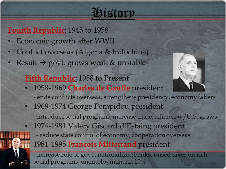 History Fourth Republic : 1945 to 1958 Economic growth after WWII Conflict overseas (Algeria & Indochina) Result  govt. grows weak & unstable Fifth R