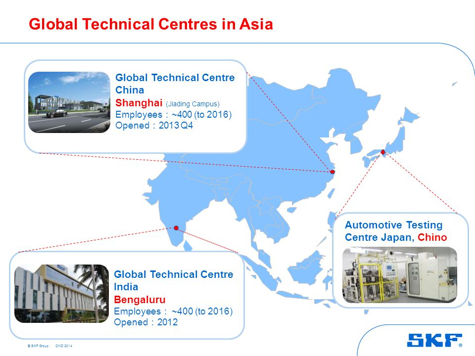 © SKF Group Global Technical Centres in Asia Global Technical Centre China Shanghai (Jiading Campus) Employees : ~400 (to 2016) Opened : 2013 Q4 Automotive Testing Centre Japan, Chino Global Technical Centre India Bengaluru Employees : ~400 (to 2016) Opened : 2012 CMD 2014