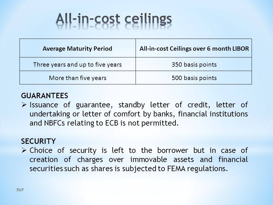 RkP Average Maturity Period All-in-cost Ceilings over 6 month LIBOR Three years and up to five years 350 basis points More than five years 500 basis points GUARANTEES  Issuance of guarantee, standby letter of credit, letter of undertaking or letter of comfort by banks, financial institutions and NBFCs relating to ECB is not permitted.