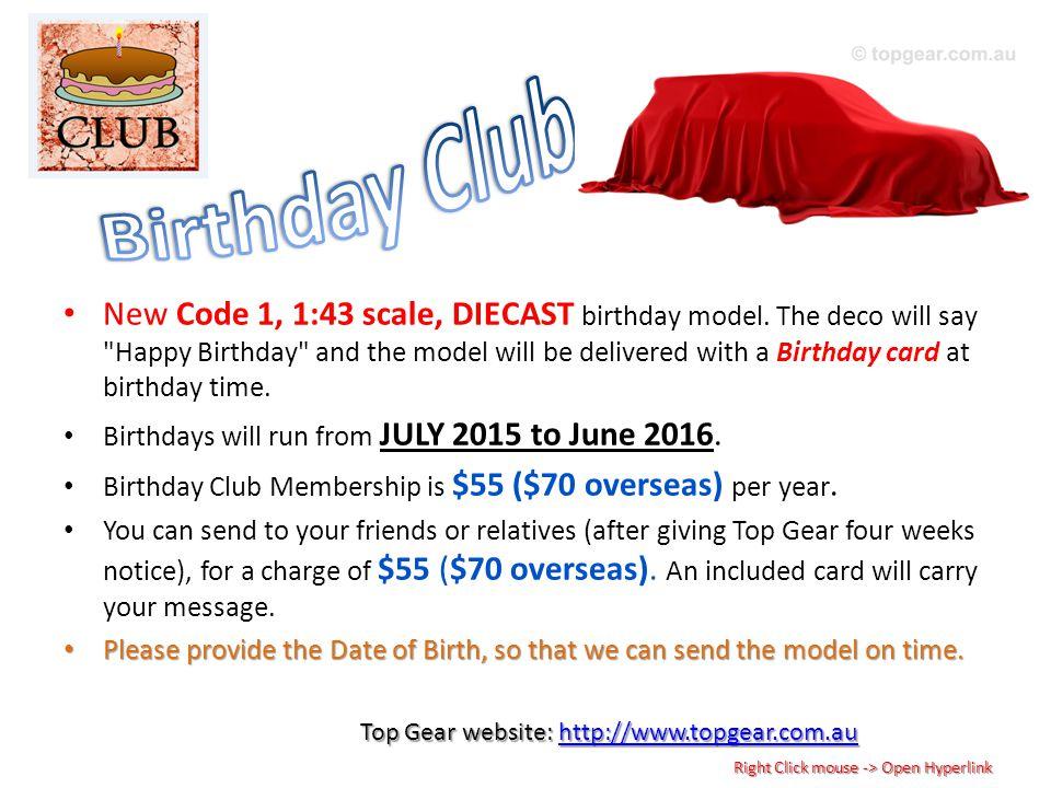 New Code 1, 1:43 scale, DIECAST birthday model.