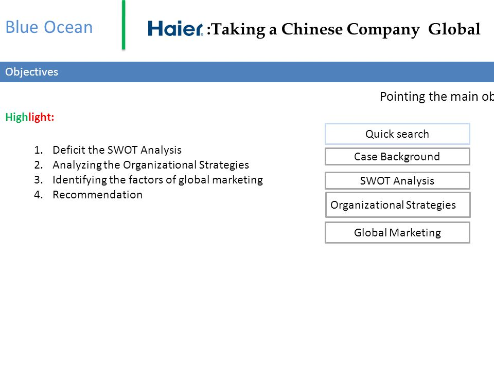 Haier India Started-1999 with a an appliance Goal- one of the top three white goods firm within 5 to 7 years.