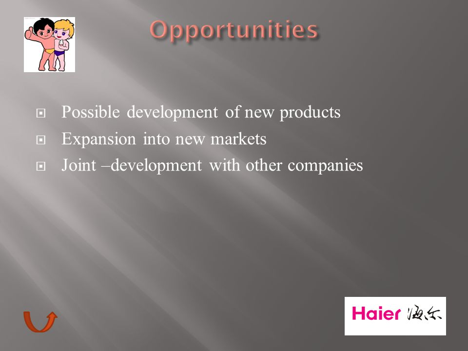  Possible development of new products  Expansion into new markets  Joint –development with other companies