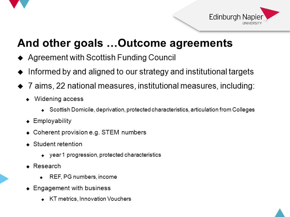 And other goals …Outcome agreements  Agreement with Scottish Funding Council  Informed by and aligned to our strategy and institutional targets  7 aims, 22 national measures, institutional measures, including:  Widening access  Scottish Domicile, deprivation, protected characteristics, articulation from Colleges  Employability  Coherent provision e.g.