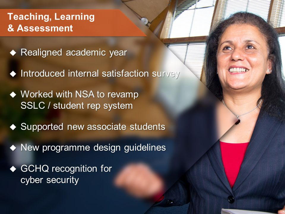 Teaching, Learning & Assessment  Realigned academic year  Introduced internal satisfaction survey  Worked with NSA to revamp SSLC / student rep system  Supported new associate students  New programme design guidelines  GCHQ recognition for cyber security