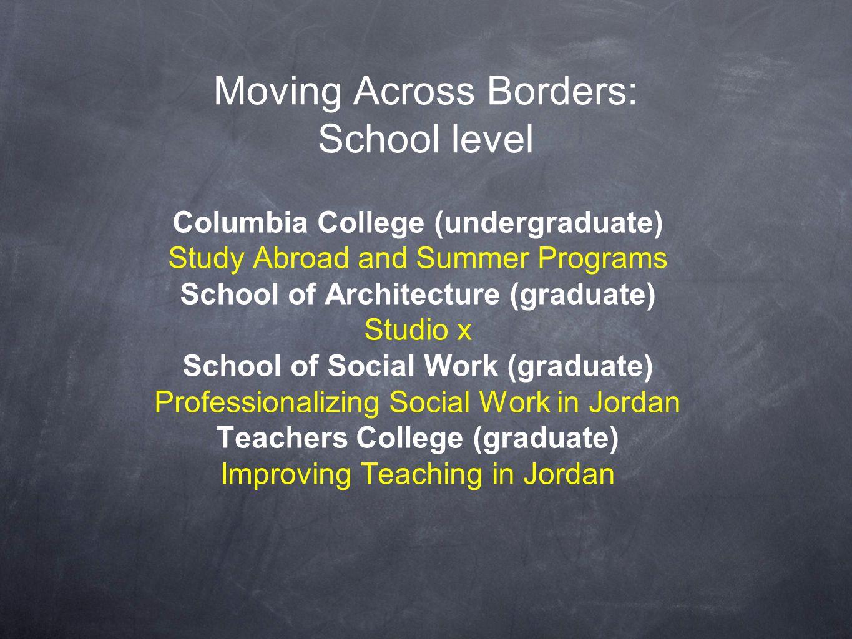 Moving Across Borders: School level Columbia College (undergraduate) Study Abroad and Summer Programs School of Architecture (graduate) Studio x Schoo
