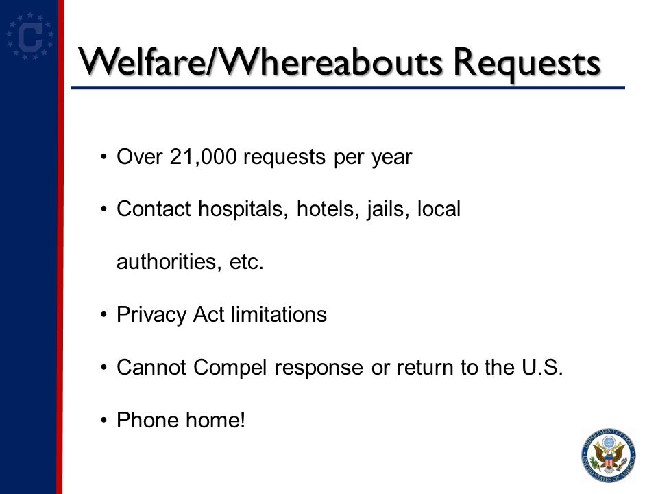 Welfare/Whereabouts Requests Over 21,000 requests per year Contact hospitals, hotels, jails, local authorities, etc.
