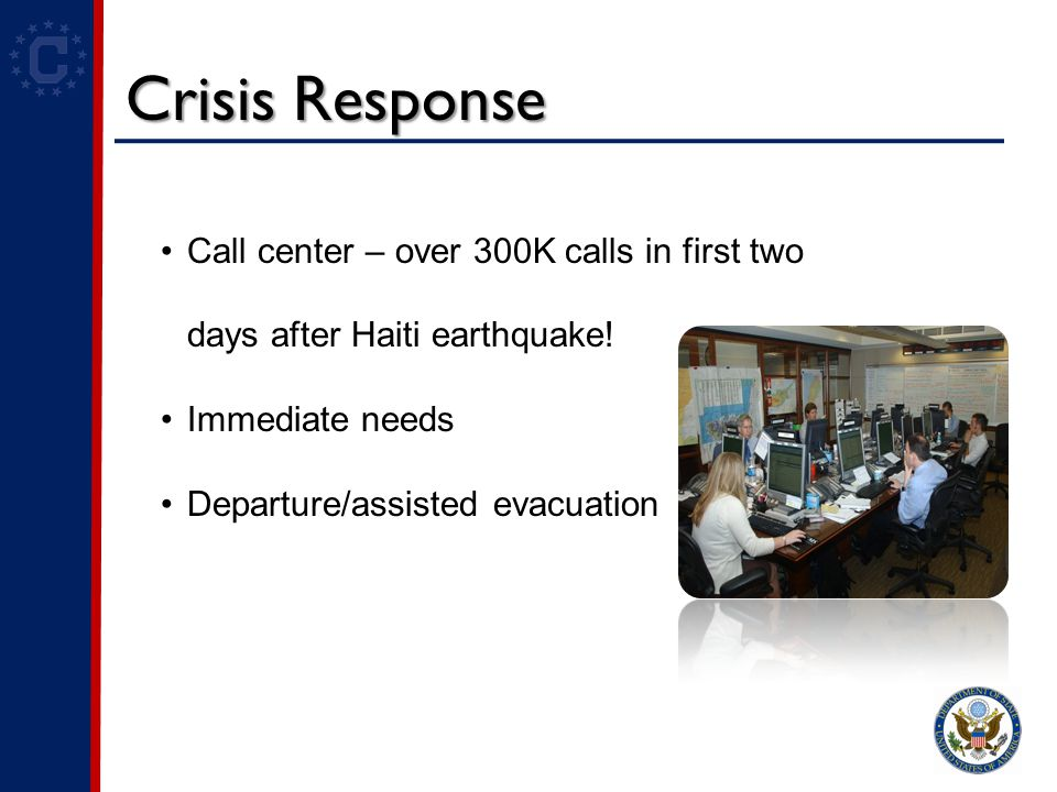 Crisis Response Call center – over 300K calls in first two days after Haiti earthquake.