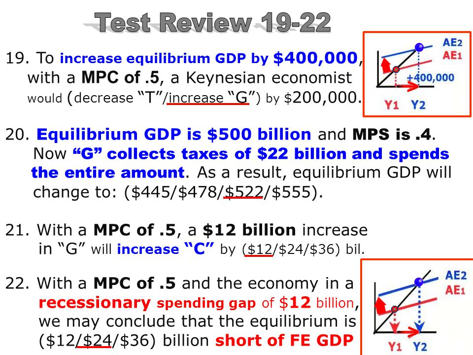 """""""C"""" equals income at $500 billionMPC is.9 11. If """"C"""" equals income at $500 billion, & MPC is.9, then an increase in Ig of $10 billion will change equi"""
