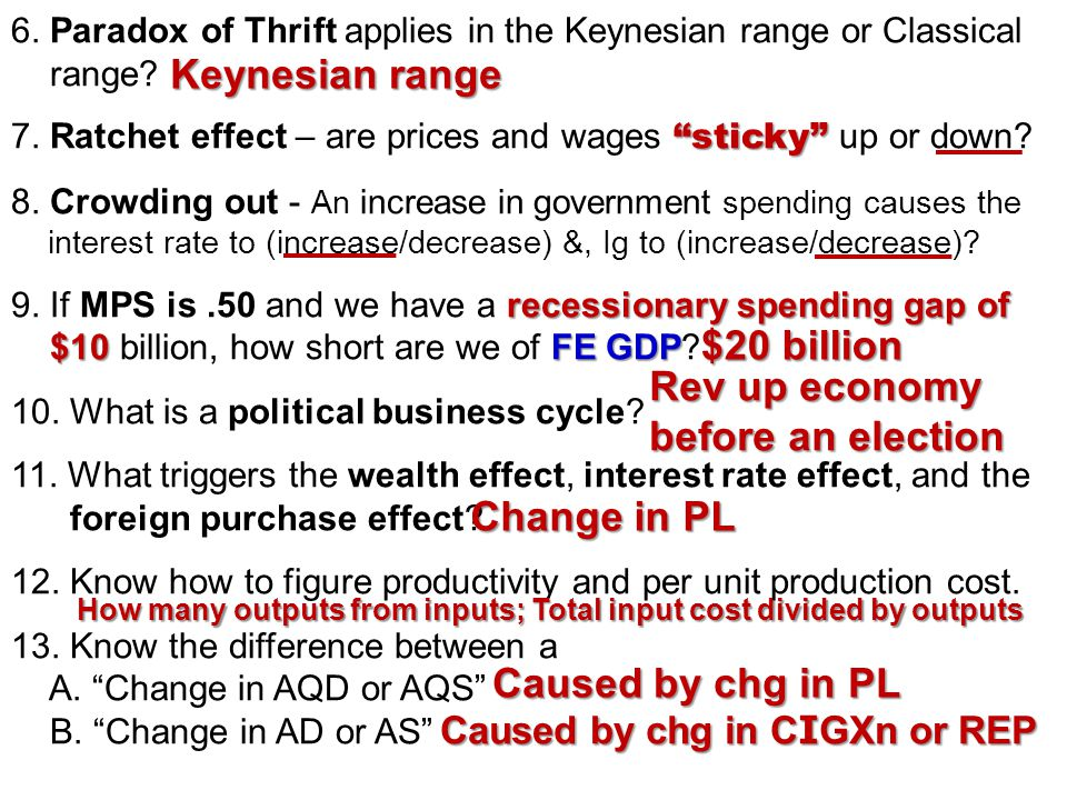 4. Which of the following would be the A. Classical AS curve B. Keynesian AS curve C. Supply-side AS curve increase in AD 5. If there is an increase i