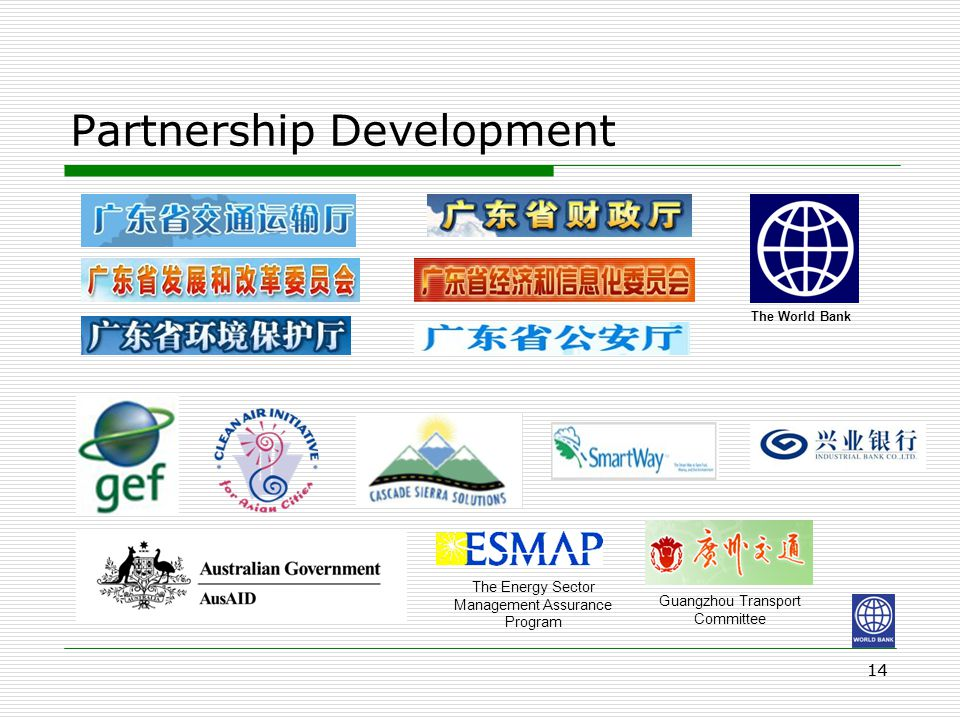 Partnership Development 14 The World Bank The Energy Sector Management Assurance Program Guangzhou Transport Committee