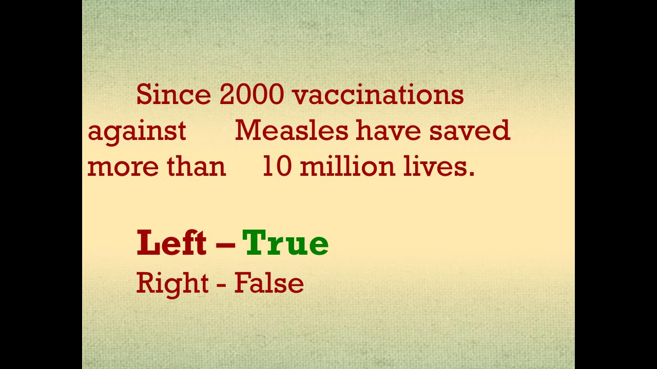 Since 2000 vaccinations against Measles have saved more than 10 million lives. Left – True Right - False