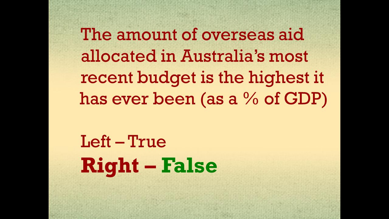 The amount of overseas aid allocated in Australia's most recent budget is the highest it has ever been (as a % of GDP) Left – True Right – False