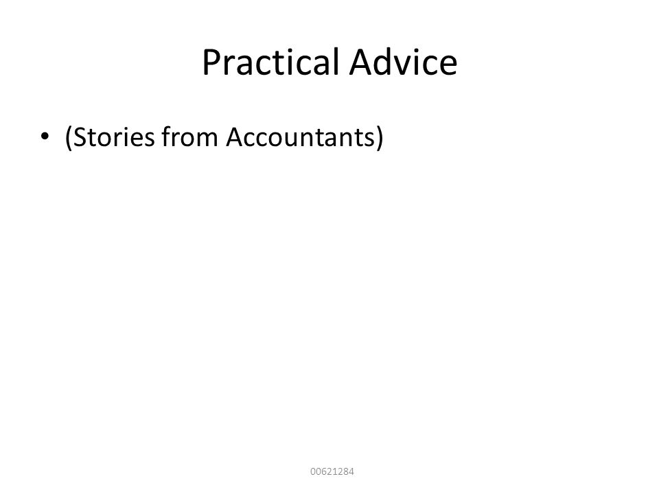 Practical Advice (Stories from Accountants) 00621284
