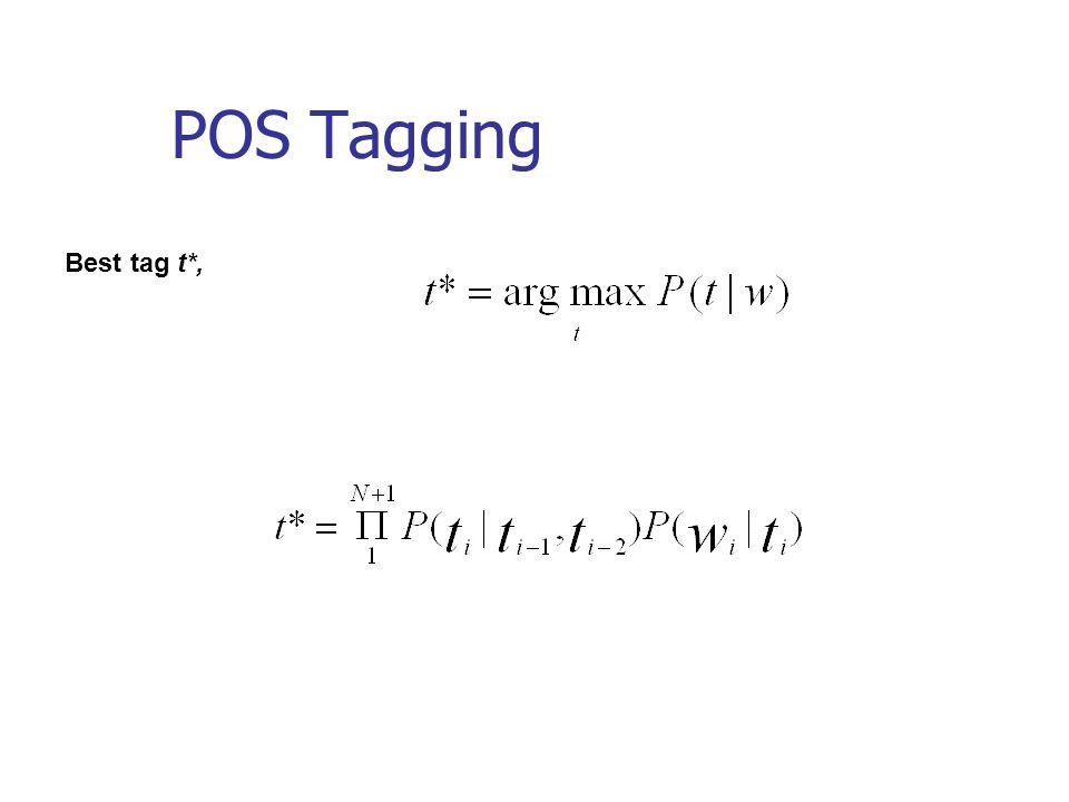 POS Tagging Best tag t*,