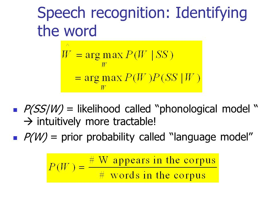 Speech recognition: Identifying the word P(SS|W) = likelihood called phonological model  intuitively more tractable.