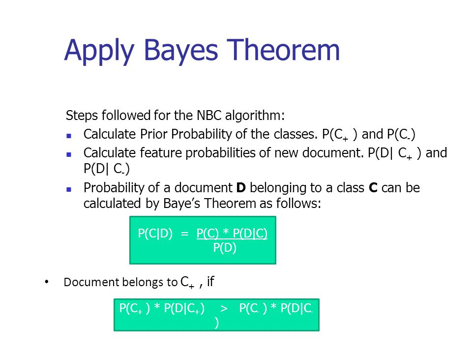 Apply Bayes Theorem Steps followed for the NBC algorithm: Calculate Prior Probability of the classes.