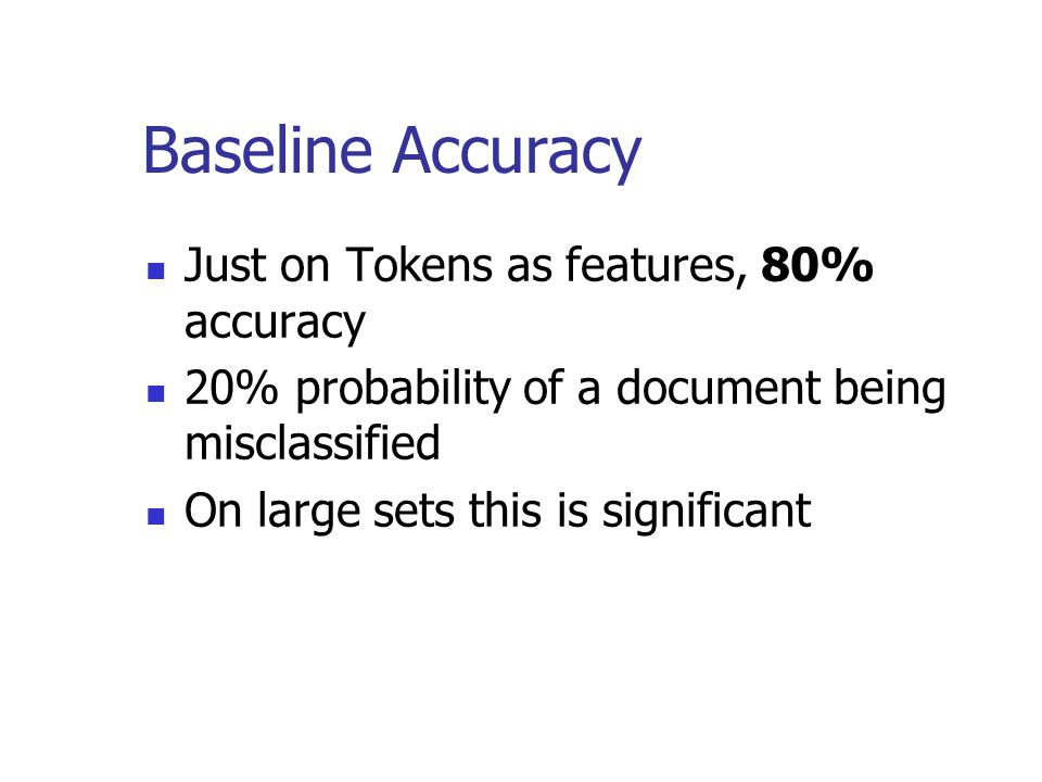Baseline Accuracy Just on Tokens as features, 80% accuracy 20% probability of a document being misclassified On large sets this is significant