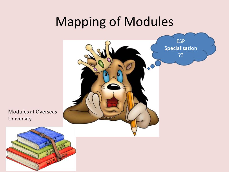 Mapping of Modules ESP Specialisation ?? Modules at Overseas University