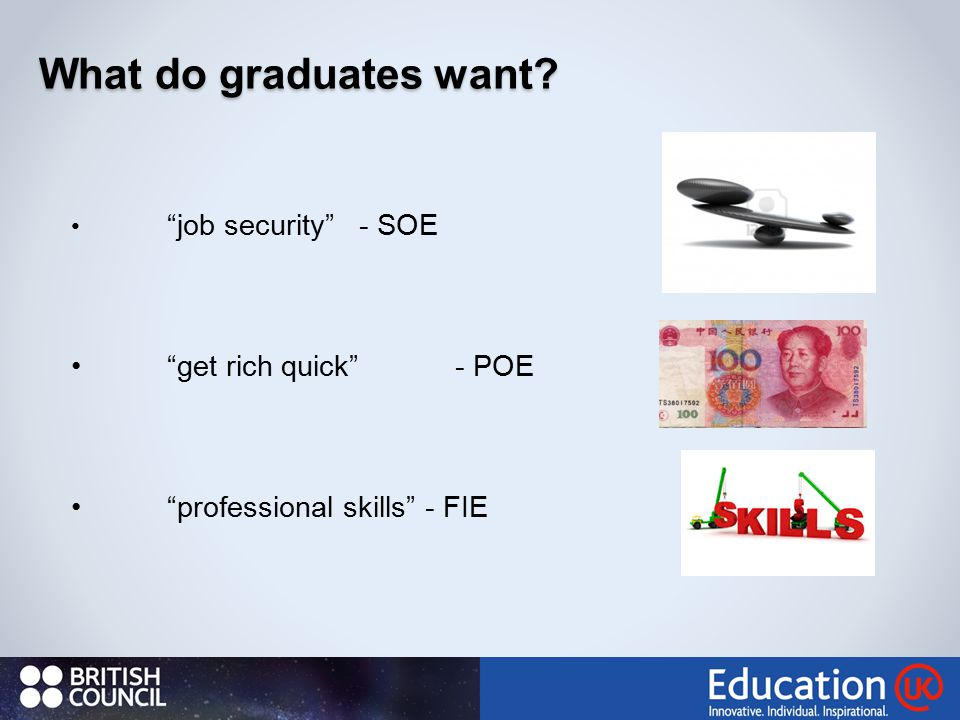 What do graduates want? job security - SOE get rich quick - POE professional skills - FIE