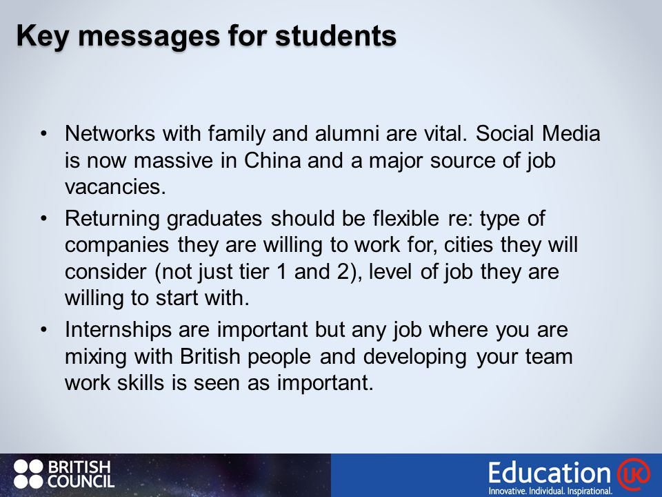 31 Key messages for students Networks with family and alumni are vital.