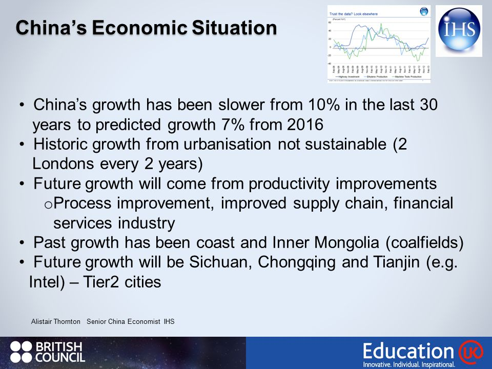 China's Economic Situation Alistair Thornton Senior China Economist IHS China's growth has been slower from 10% in the last 30 years to predicted growth 7% from 2016 Historic growth from urbanisation not sustainable (2 Londons every 2 years) Future growth will come from productivity improvements o Process improvement, improved supply chain, financial services industry Past growth has been coast and Inner Mongolia (coalfields) Future growth will be Sichuan, Chongqing and Tianjin (e.g.