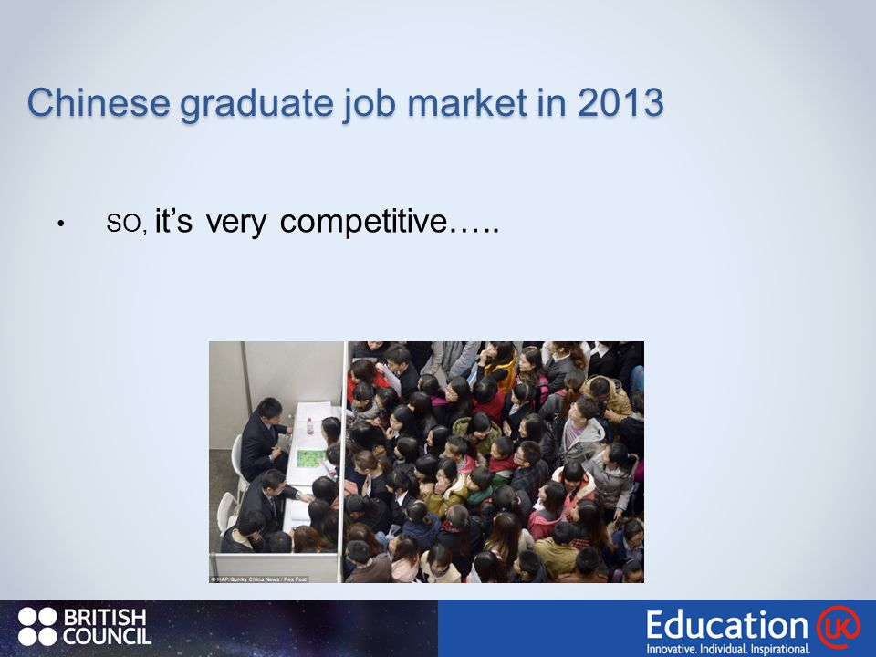 SO, it's very competitive….. Chinese graduate job market in 2013
