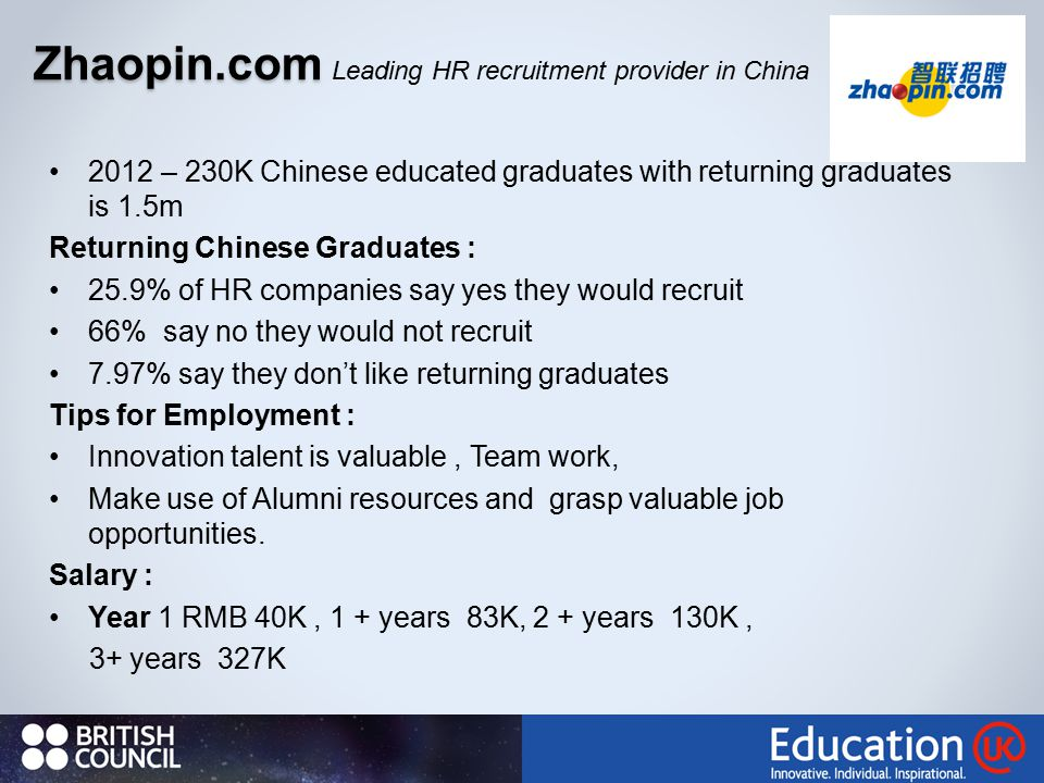 2012 – 230K Chinese educated graduates with returning graduates is 1.5m Returning Chinese Graduates : 25.9% of HR companies say yes they would recruit 66% say no they would not recruit 7.97% say they don't like returning graduates Tips for Employment : Innovation talent is valuable, Team work, Make use of Alumni resources and grasp valuable job opportunities.