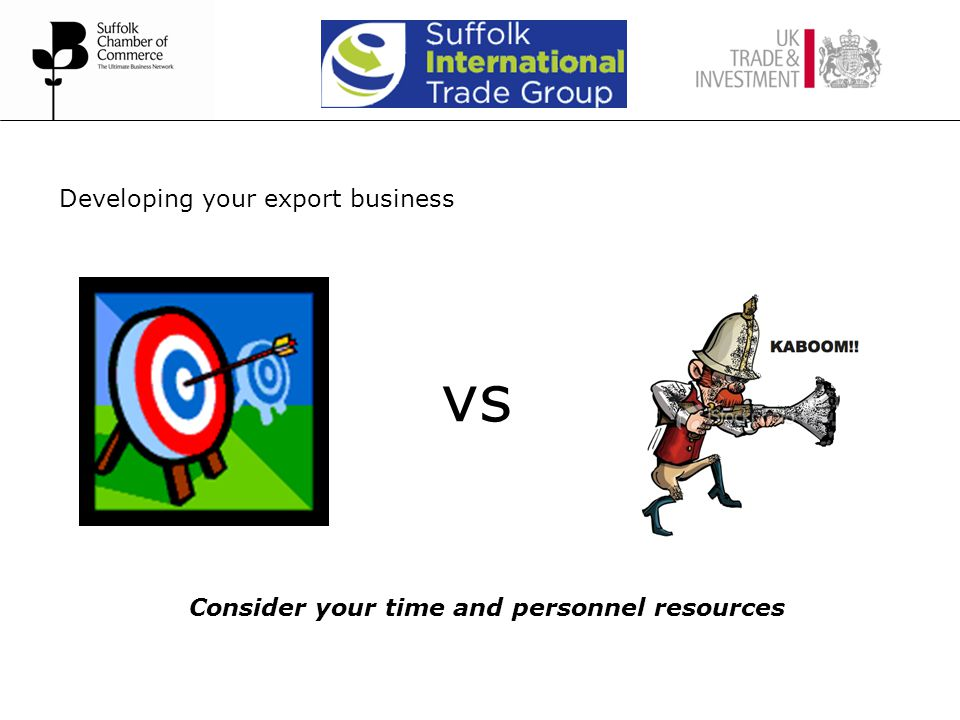 Developing your export business vs Consider your time and personnel resources