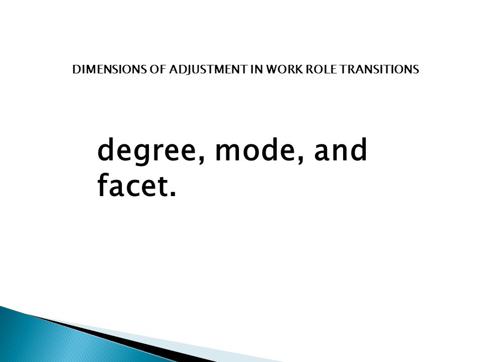 DIMENSIONS OF ADJUSTMENT IN WORK ROLE TRANSITIONS degree, mode, and facet.