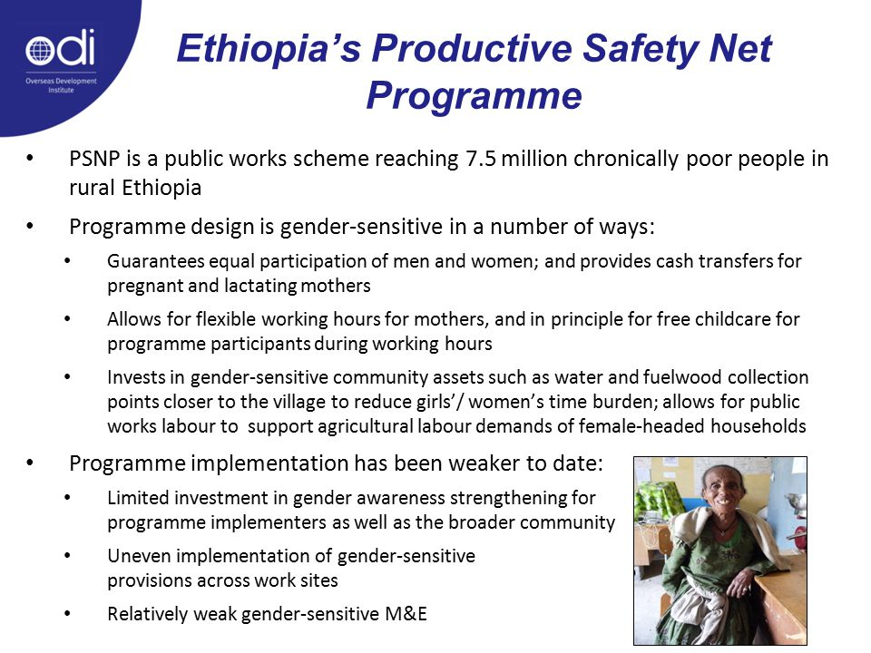 Ethiopia's Productive Safety Net Programme PSNP is a public works scheme reaching 7.5 million chronically poor people in rural Ethiopia Programme desi